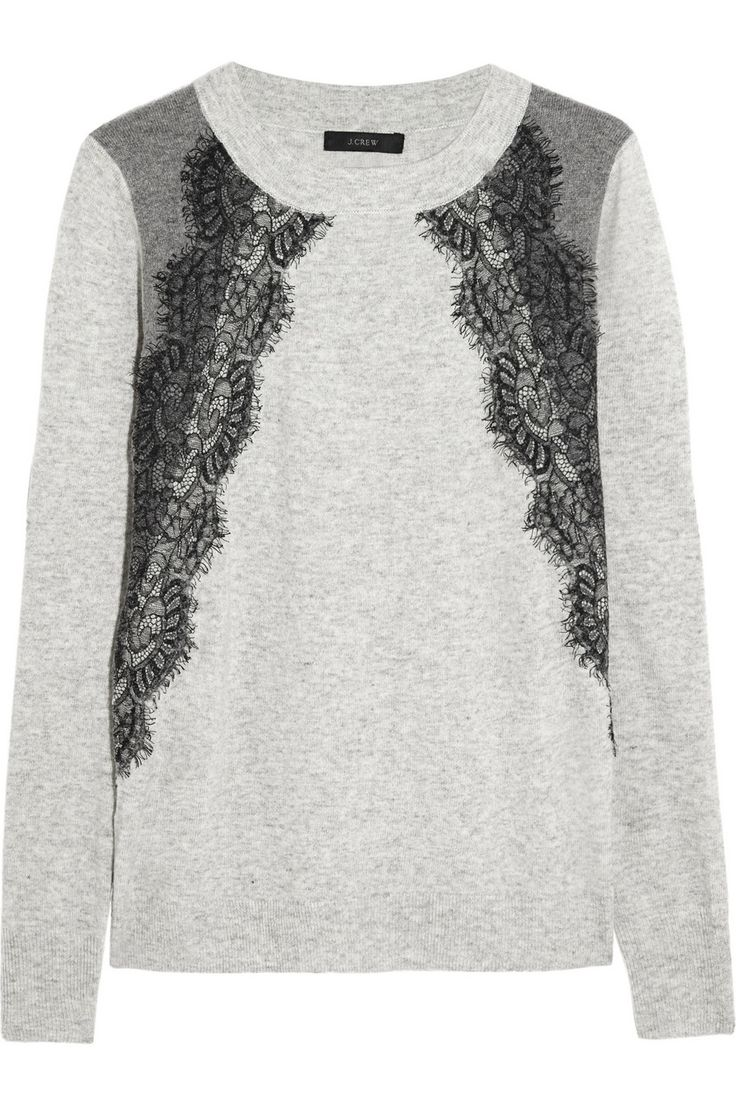 J.Crew Lace-paneled knitted sweater NET-A-PORTER.COM