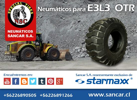 OTR cargador frontal   Neumáticos Starmaxx SM-70  Compuesto de caucho de rodadura reduce el calentamiento y aumenta la durabilidad. Representante Exclusivo en Chile de Starmaxx Neumáticos Sancar, Todos en un solo lugar. http://www.sancar.cl/ | ventas@sancar.cl | +56226890505 | +56226891266