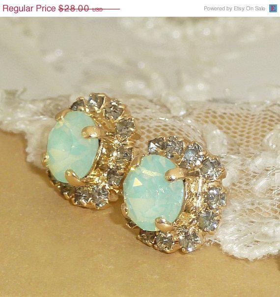 SALE Mint Opal Crystal Stud Earrings, Bridesmaids Gift, Crystal Rhinestone Sawrovski , 24k Gold Mint Gray Small Post Earrings,Christmas Gif