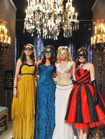 pretty little liars masquerade ball dresses -  love the black and red dress