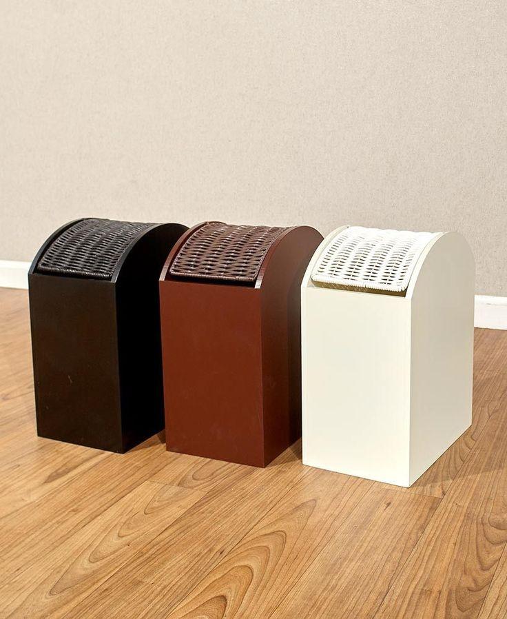 Wooden Kitchen Trash Can Storage Garbage Compact Wastebasket Receptacle Unit  #Unbranded