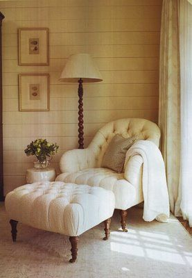 Would be PERFECT for a master bedroom sitting area. Love the tufting and the soft ivory tones. Elegant, yet cozy.