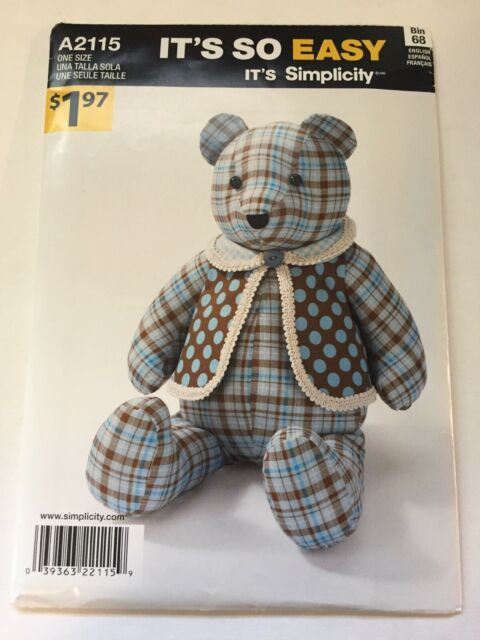 Simplicity Teddy Bear Sewing Pattern 2115 Its So Easy
