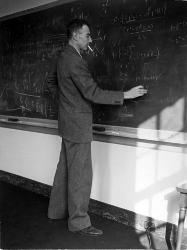 American Physicist J. Robert Oppenheimer Writing on Blackboard at the Institute for Advanced Study by Alfred Eisenstaedt