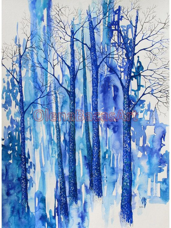 Blue Turquoise Forest Original Watercolor Painting Large