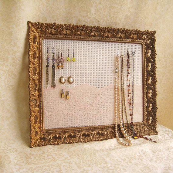 Closet organization - Earring Holder Jewelry Organizer Display Rustic by Joyousworld, $26.50