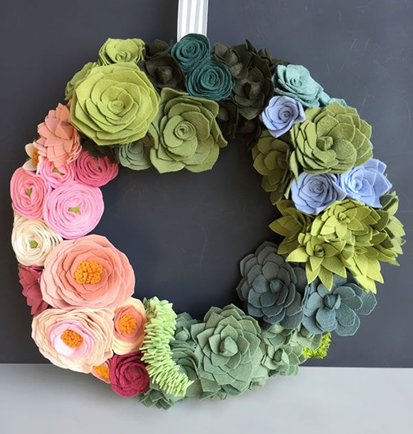 Felt Succulent & Flower Wreath features hand-crafted felt flowers and succulents. Makes great wedding, wall or door decor. Choose your flower colors.