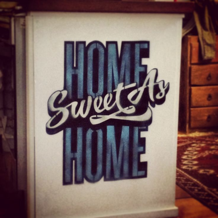 Home piece. Home 'sweet as' home. Spray paint on ply. 2013