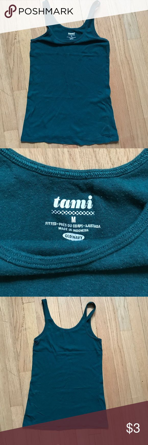 Old navy teal medium fitted cami worn 3x Old navy teal medium fitted cami worn 3x too snug for me!  I AM OPEN TO OFFERS (unless item is listed $4 or $5 or below) PLEASE MAKE OFFER THROUGH OFFER FEATURE 😊 Old Navy Tops Camisoles