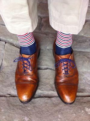 Brown dress shoes blue laces