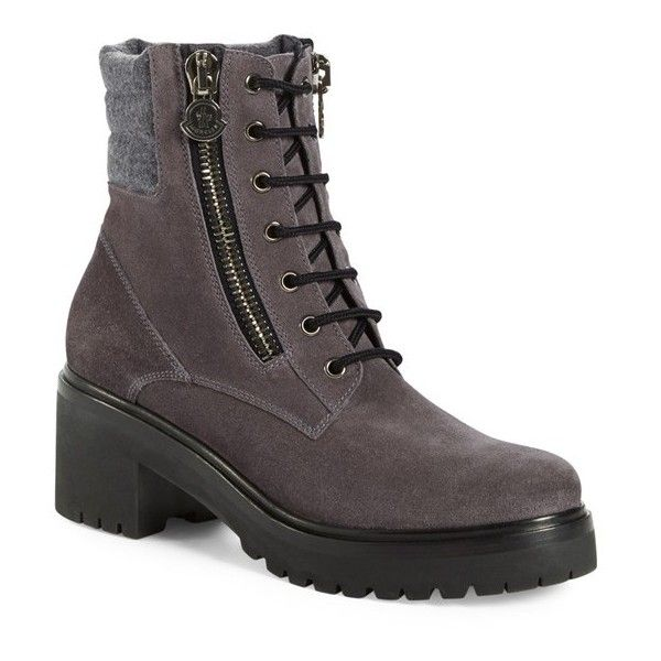 Women's Moncler 'Viviane Scarpa' Hiking Boot ($735) ❤ liked on Polyvore featuring shoes, boots, grey suede, leather shoes, real leather boots, leather hiking boots, gray shoes and leather zipper boots
