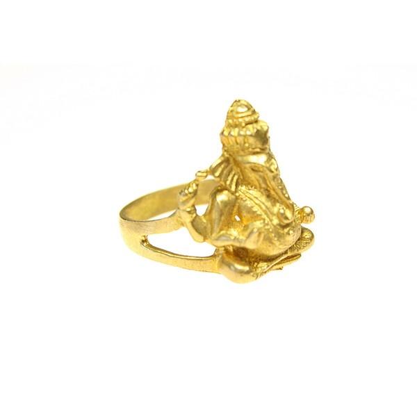 Gold Tibetan Ganesha Ring