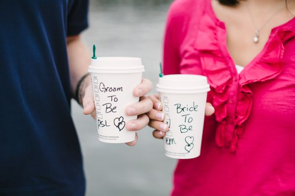 These clever coffee cups make for adorable pictures! It would be fun to have a similar shot of the bridesmaids and bride on the wedding morning.