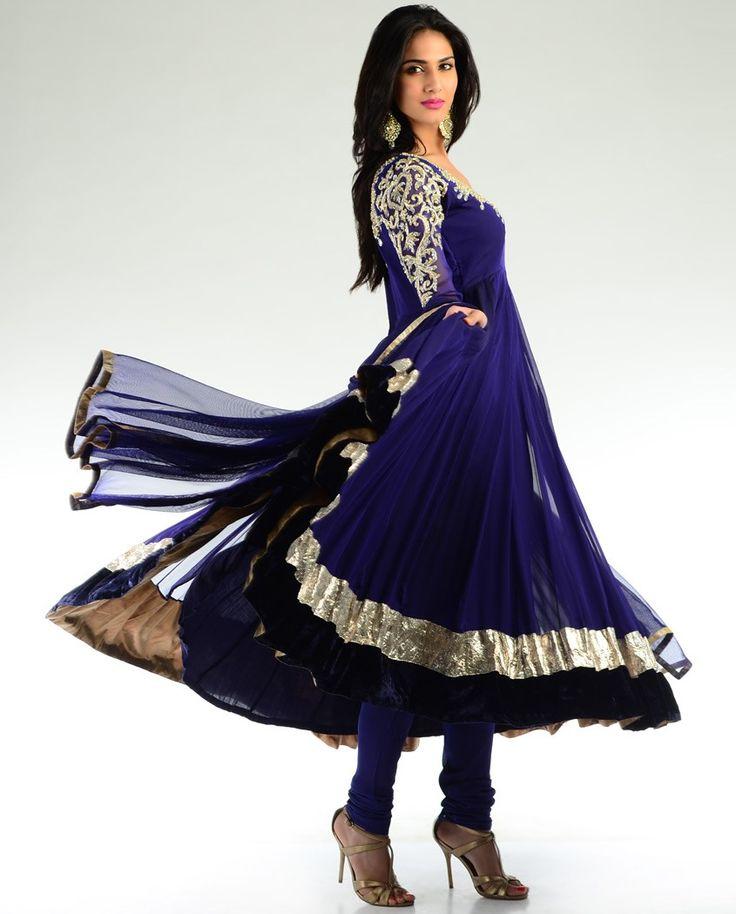 deep peacock blue embellished kalidar suit by aneesh agarwaal