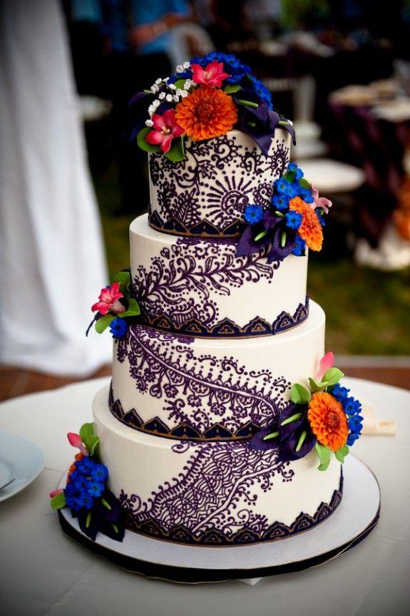 White wedding cake with purple henna decoration- Casey durgin photography