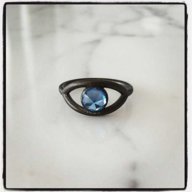 Ring with aquamarine as a reverse eye from silver 925 platinum plated