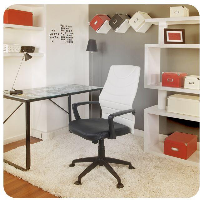 #Silla #Escritorio #Rojo #Blanco #Negro #WorkPlace #Chair #Black #White #Red #Desk