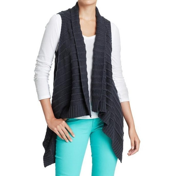 Old Navy Womens Asymmetrical Front Sweater Vests ($16) ❤ liked on Polyvore