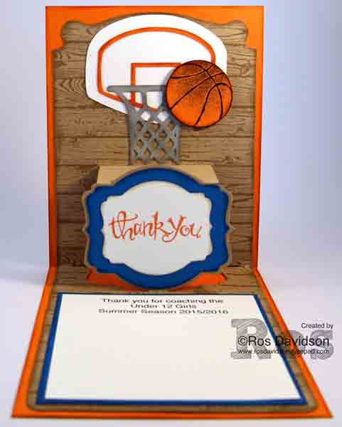 Basketball, coach, big shot, thank you, sassy salutations, hardwood, pop n cuts, stampin up