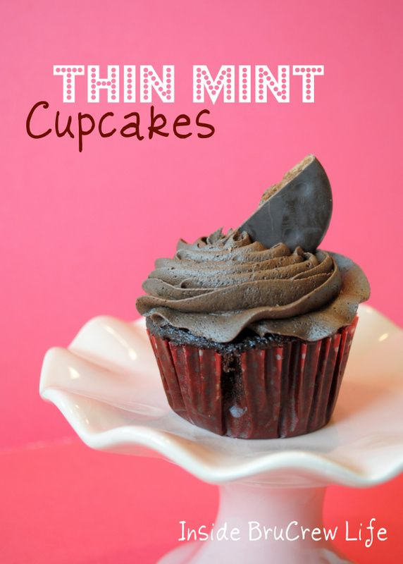 Thin Mint Cupcakes from http://www.insidebrucrewlife.com - chocolate cupcakes with a Thin Mint cookie bottom and Mocha Buttercream #cupcakes #thinmint