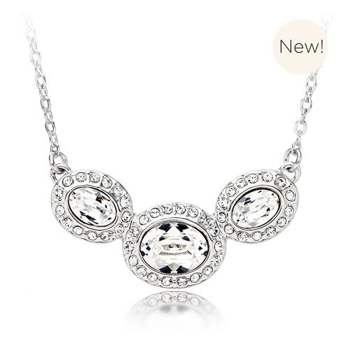 Christie Oval Statement Necklace with Clear Swarovski® Crystals