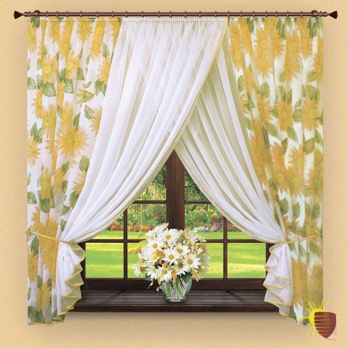 Комплект готовых штор арт. 043 желтые подсолнухи