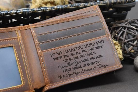 Personalised leather Wallet Image Photo Engraved Boyfriend Gift Valentine family