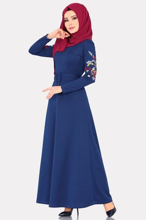 Modaselvim 59 Tl Kollari Nakisli Kemerli Elbise Ukb5036 Indigo Muslim Fashion Fashion Islamic Dress