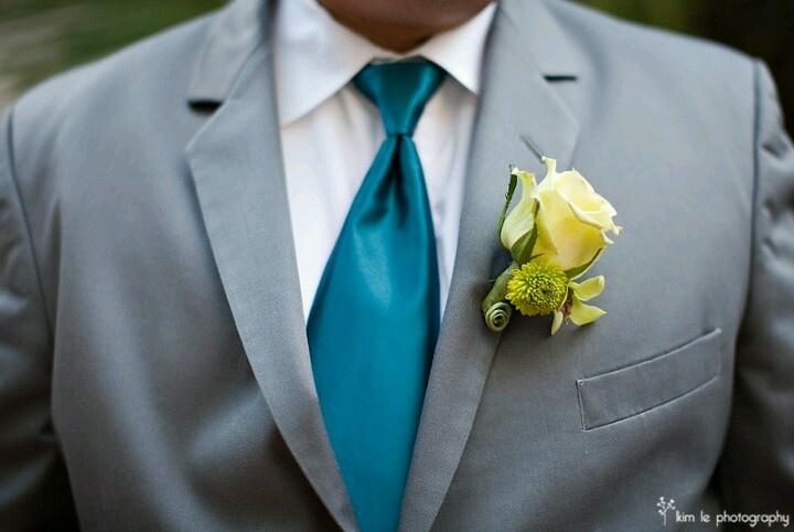 Teal tie, lime green boutineer