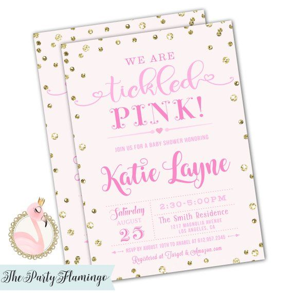 Tickled Pink Baby Shower Invitation Invitation Tickled Pink Theme