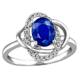 10KT White gold 0.13 ctw diamond and Sapphire ring. RIN-LGM-2665