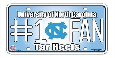 "NORTH CAROLINA TARHEELS 6""x12"" METAL #1 FAN LICENSE PLATE CAR NEW SHIPPING"