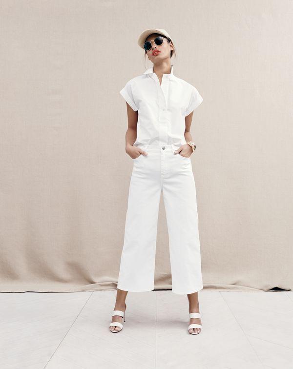 JUN '15 Style Guide: J.Crew women's short-sleeve popover shirt, Rayner wide-leg jean in white, Ray-Ban® sunglasses and Lena slide heels.