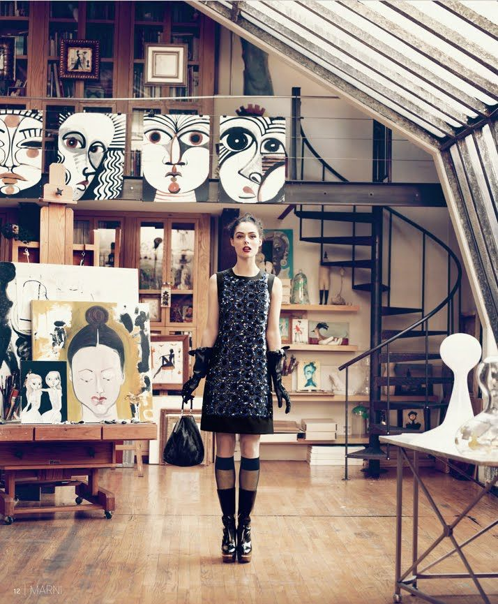 The New York loft studio (above) of artist Ruben Toledo, is awash in natural light from celestory windows. You can see why Nordstroms found it a compelling location for its Fall 2010 catalog shoot. http://pbcstyle.blogspot.com/2011/04/magical-illustrations-of-ruben-toledo.html
