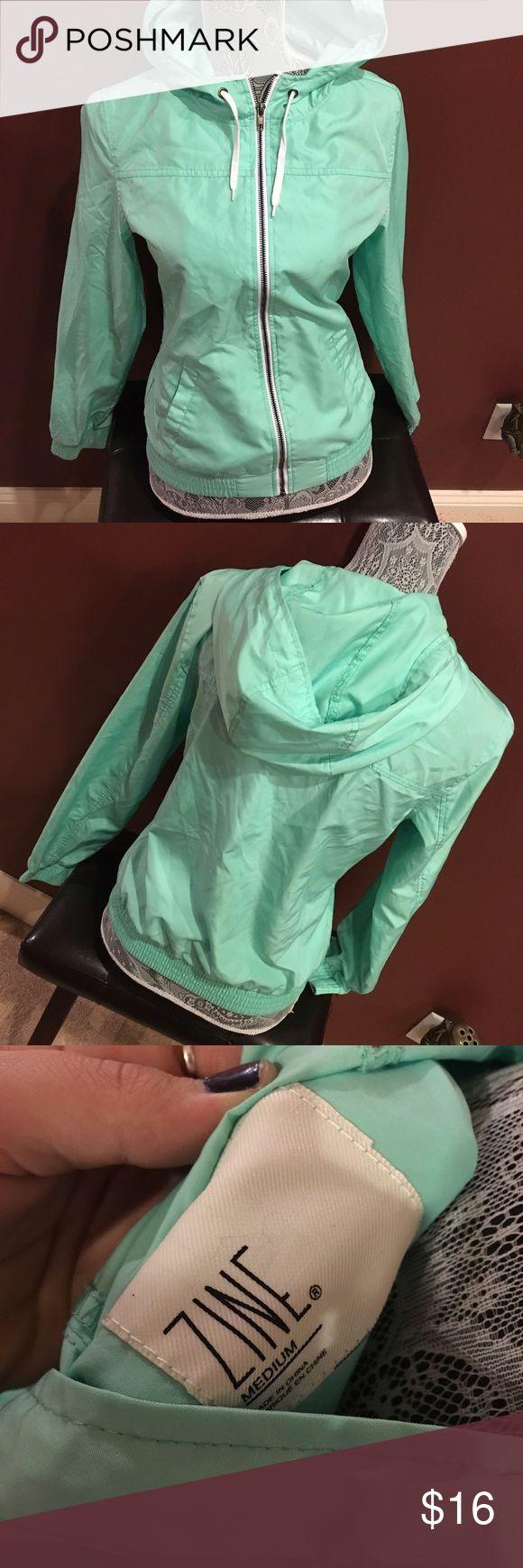 Zine wind breaker zip up jacket . Zine brand from zumiez new condition teal color Tops Sweatshirts & Hoodies