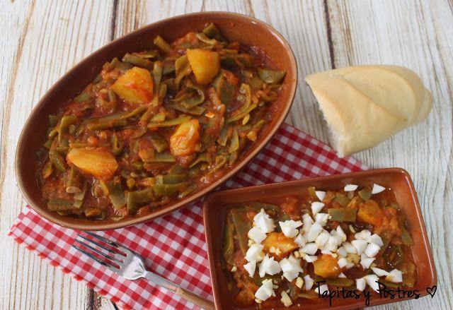 Judías (Habichuelas verdes) con tomate y patatas