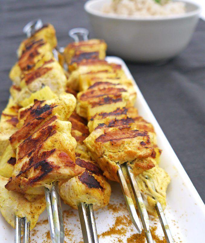 Kip-curry brochettes met ananas