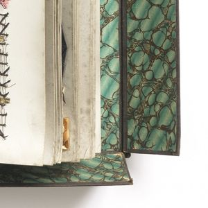 Sample book with a cover which forms a box, including samples of machine embroidery, braids and tapes all using straw.