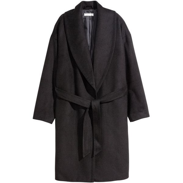 H&M Coat in a wool blend ($46) ❤ liked on Polyvore featuring outerwear, coats, jackets, black, h&m, shawl collar coat, tie belt, h&m coats and black tie belt