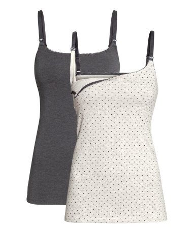 MAMA 2-pack Nursing Tank Tops  | H&M US (My favorite nursing tanks for lounging at home!)