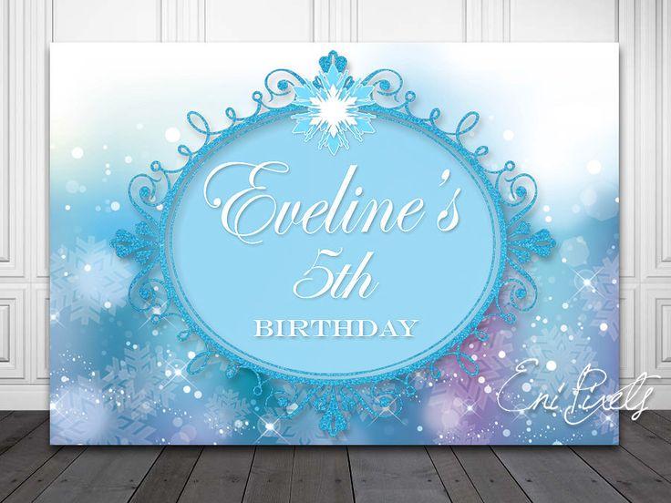 FROZEN Backdrop  -  Birthday Sign - Princess Backdrop - Frozen Party Printables - Personalized - Custom size by EniPixels on Etsy https://www.etsy.com/listing/215501754/frozen-backdrop-birthday-sign-princess