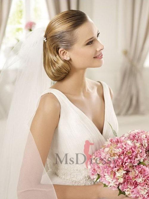 short cut and v neck #bride