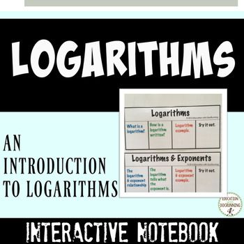 This ready-to-use set of foldables for interactive notebooks includes notes for what are logarithms, logarithms and exponents, logarithms in base 10 and natural logarithms. Students use the guided notes to learn about logarithms.