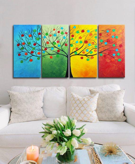 Stagioni di grande albero astratto pittura globi in tree
