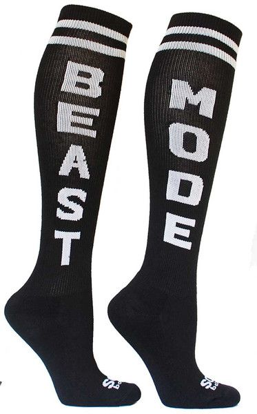 "Beast Mode - I wish beast mode would ever have suited me for my actual abilities, but I'd have worn them anyway believe that! Now the hot mess socks, well......they would be me to the max. I might need those! I already have Swole Sista and Yay Burpees socks and I love them. Oh and I have the ones with ""bad ass"" and the upward arrows on the back, too. CrossFit apparel is FUN!"