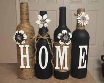 Wine bottle decor van lovetammyscrafts op Etsy