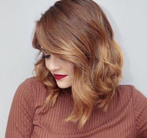 hair image, lob, long bob, red lips