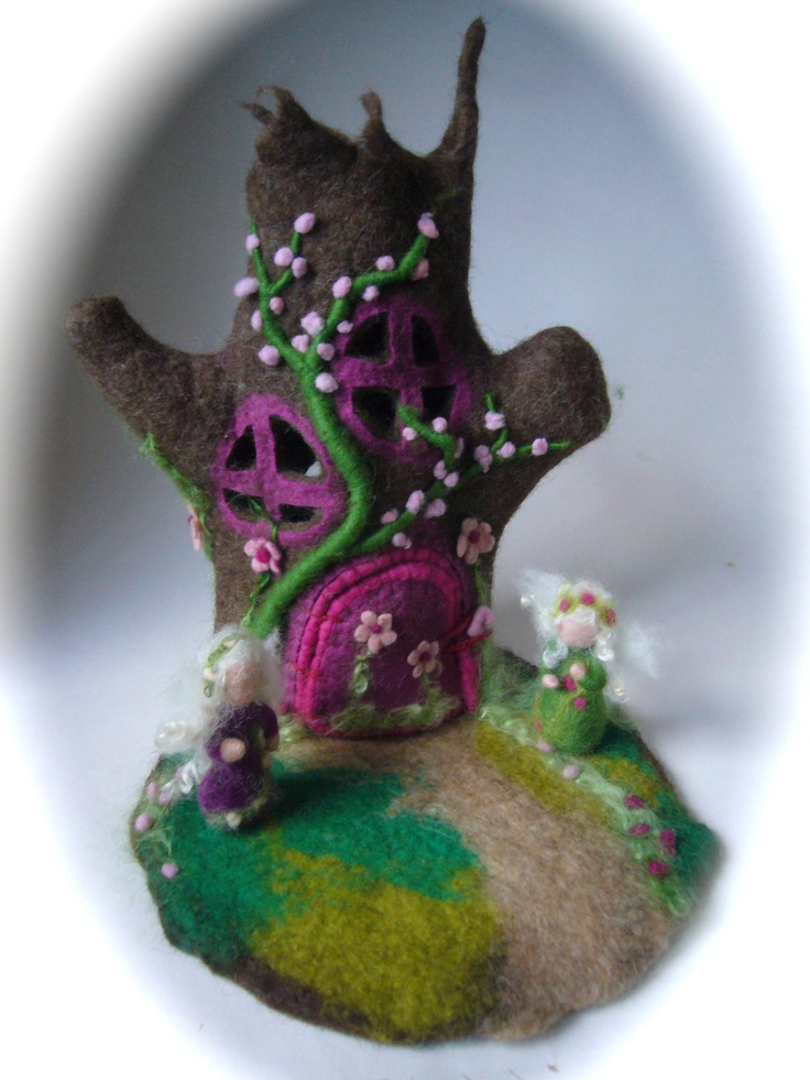 Tree fairy House. Hand Felted.Waldorf Fairy elf. Wet ...