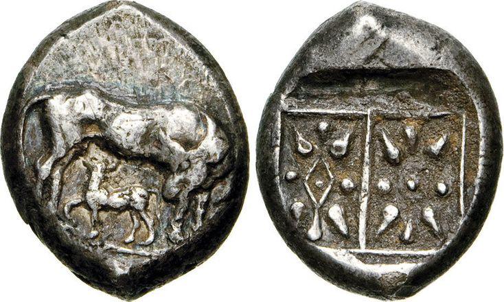 NumisBids: Numismatica Varesi s.a.s. Auction 65, Lot 30 : ILLYRIA - (340-280 a.C.) Statere. D/ Mucca che allatta il vitello...