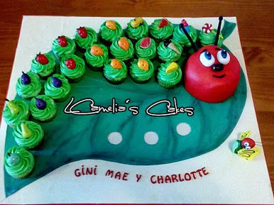 Tartas Infantiles de Camelia: Cupcakes La Oruga Muy Hambrienta
